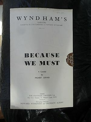 """Vivien Leigh 1930's UK STAGE THEATRE PROGRAM """"Because We Must"""" VG+ COND"""