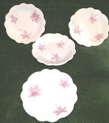 4 Beautiful Antique Semi Porcelain WH Grindley, England Butter Pats pink/white