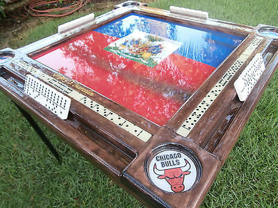 Haitian Flag Theme Domino Table by Domino Tables by Art