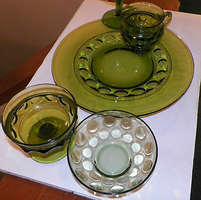 Vintage 16 Pieces Olive Green Snack Plates , Indiana Glass Imperial