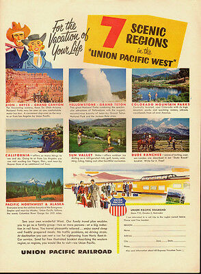 1950's Vintage ad for UNION PACIFIC RAILROAD`Scenic Regions`West