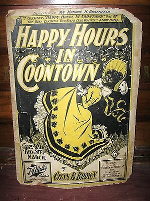 "1899 BLACK CARICATURE SHEET MUSIC ""HAPPY HOURS IN C**NTOWN"" BY CHAS. B BROWN"