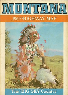 1969 MONTANA Official State Highway Map Missoula Helena Great Falls Billings
