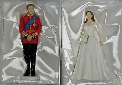 (2) royal doulton PRINCE WILLIAM & PRINCESS CATHERINE Royal Wedding- new - boxed