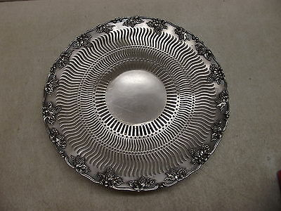 Vintage Nickel Silver Filigree Grape Design Serving Dish Tray