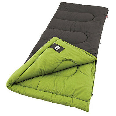 Coleman Sleeping Bag Camping Gear 40 Degree Hiking Flannel Lining Easy Roll