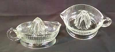 Vtg Pair Citrus Juicer Reamer Large Ribbed Clear Glass Original Old Classic Lot