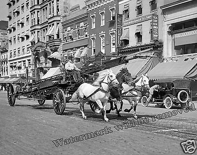 Photograph of a Horse Drawn Water Tower Firefighter Wagon   Year 1905 11x14