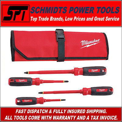 Milwaukee 48-22-2204 4 Pc 1000V Insulated Electricians Screwdriver Set W/ Pouch