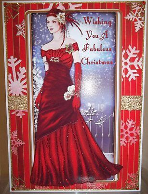 Handmade Art Deco Christmas Card Lady In A Red, Can Personalise