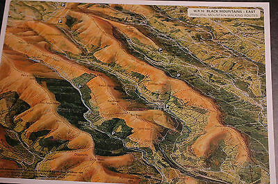 3D Aerial Panoramic A4 Fell Walking Map of Brecon Beacons No10 Unusual Gift Idea