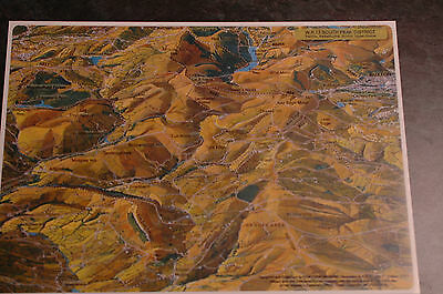 3D Aerial Panoramic A4 Fell Walking Map Peak District No17 Unusual Gift Idea