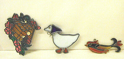 Vintage Stained Glass Art Glass Suncatcher Window Ornaments Fish Duck Grapes