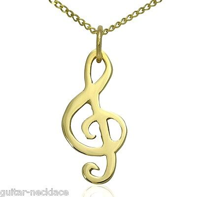Solid 9ct Gold Treble Clef Musical Note Pendant & Necklace Jewellery Gift Set 9k
