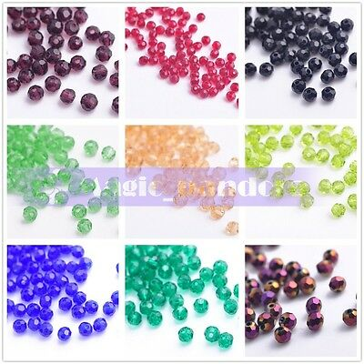 100pcs 3mm Round Ball Crystal Glass Faceted Loose Beads Fit Handmade Jewelry
