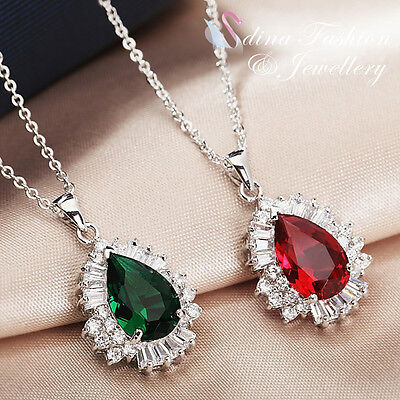 18K White Gold Plated AAA Grade CZ Stunning Ruby & Emerald Teardrop Necklace