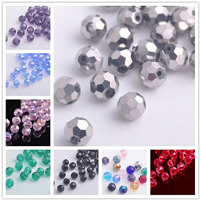 30pcs 6mm Round Ball Crystal Glass Faceted Spacer Loose Beads Jewelry Making lot
