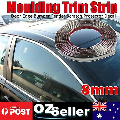 12meters 8mm Silver Chrome Self Adhesive Car Edge Styling Moulding Trim Strip