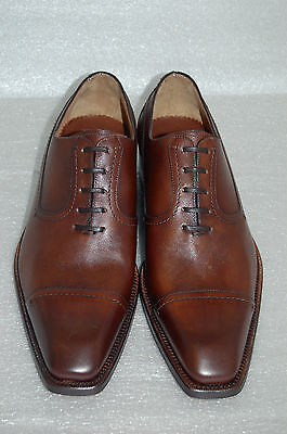MAN OXFORD CAPTOE -8 eu- BROWN CALF-VITELLO CACAO- LTH SOLE- FONDO CUOIO