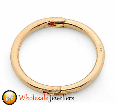 1pc New 22ct Gold Plated Sterling Silver Hinged Hoop Piercing Mens Stud Earring