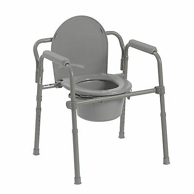 Elderly And Handicapped Safety Bath Folding Steel Bedside Commode Toilet Seat