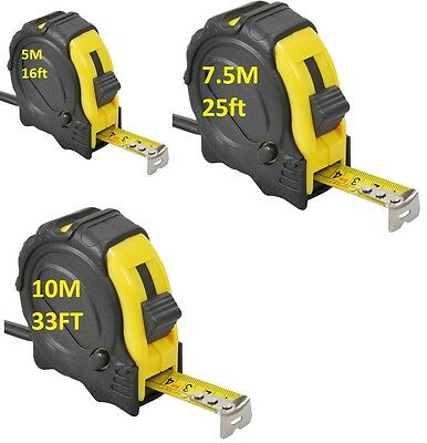 7.5M 10M Retractable Metal Tape Measure Power Griplock Metric Imperial Measuring