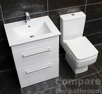 600mm Square Vanity Sink Unit & Basin Toilet Set Bathroom Suite + Tap Option