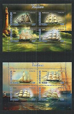 Tchad 2013 Sailing Ships 2X Mini Sheet ** Mnh