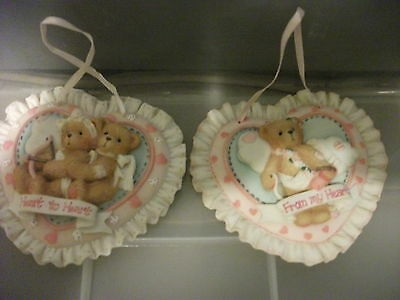 """CHERISHED TEDDIES, """"HEART TO HEART"""" """"FROM MY HEART"""" BOY/GIRL CUPID PLAQUES BD-4"""