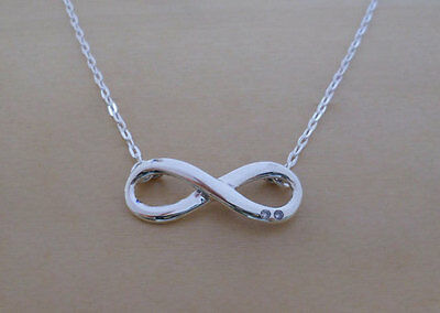 """925 Sterling Silver Infinity Pendant & Adjustable 16 17"""" Chain Necklace"""
