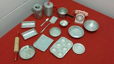 Vintage Toy Collectible Child Set Aluminum Tin Kitchen Play Cooking, Baking LOT
