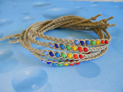 "CHAKRA Wish Anklet or Bracelet Braided Hemp with Glass Beads 14"" Long"