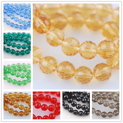20pcs 8mm Exquisite Round Ball Glass Crystal 96Faceted Charms Loose Spacer Beads