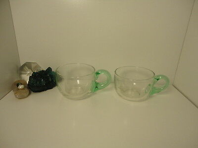 (2)pc lot of green applied handled art glass punch cups