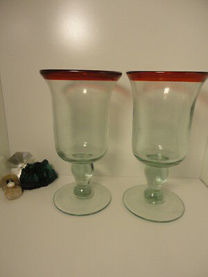 (2)pc lot of Ruby red crested hand/mouth blown art glass footed goblet tumblers