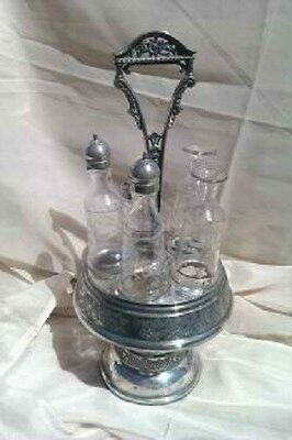 Victorian Silverplate Castor & 5 cruet set  by Homan Silver Plate Co  Antique