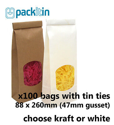x100 SMALL Kraft Brown or White Gusset Window Bags with tin tie - 250g size