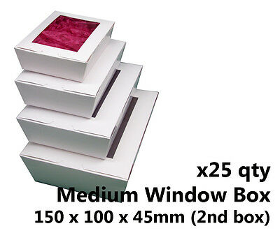 x25 MEDIUM WHITE WINDOW LID BOXES - for macarons, cookies, food, gift packaging