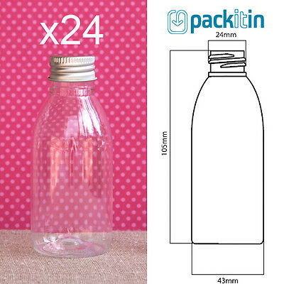24 x 100ml CLEAR TAPERED PLASTIC BOTTLES + screw top lids - tableware for party