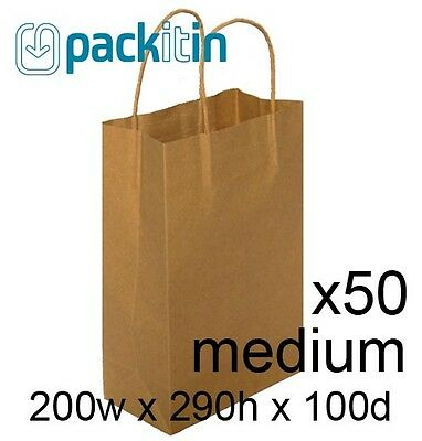x50 KRAFT BROWN paper gift CARRY party BAGS with handles - MEDIUM (200 x 290mm)