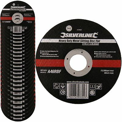 Silverline 103662 115mm Heavy Duty Metal Slitting Cutting Flat Discs Packs 1-25