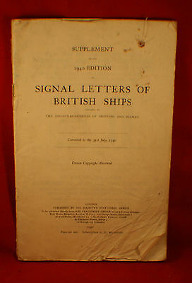 Manual,  SIGNAL LETTERS OF BRITISH SHIPS, 1940 Edition HMS - RARE