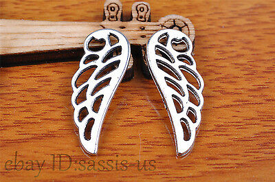 15pcs 25*9mm Charm angel wing pendant Diy Jewelry For Bracelet Tibet Silver 7135