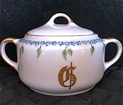 KPM ~Covered Sugar Bowl Made in Germany China~Blue Daisy Chain Floral Garland