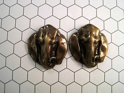 Antiqued Brass Elephant Head Stampings (2) - ANTRAT399 Jewelry Finding