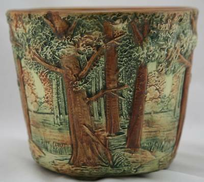 "WELLER FOREST 6.75""  x 8"" JARDINIERE W/TABBED FEET GREAT MOLD AND COLOR MINT!"