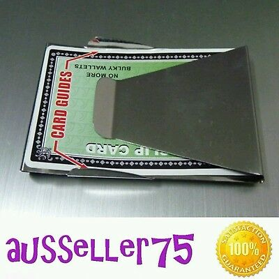 Stainless steel double sided slim money card holder clip space saver