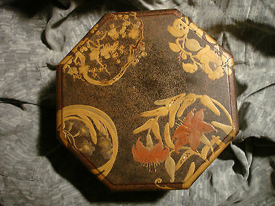 19th c Japanese Lacquer Box / Lid  Flowers