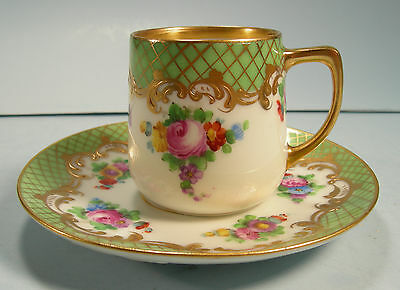 Lovely Dresden Demi Cup and Saucer HP Flowers Apple Green Border Gold Crosshatch