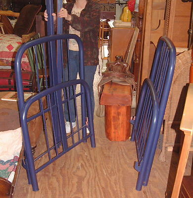 Vintage set Antique Beds, Twin, Metal Knobby Rails, Shabby chic Indigo Blue Look